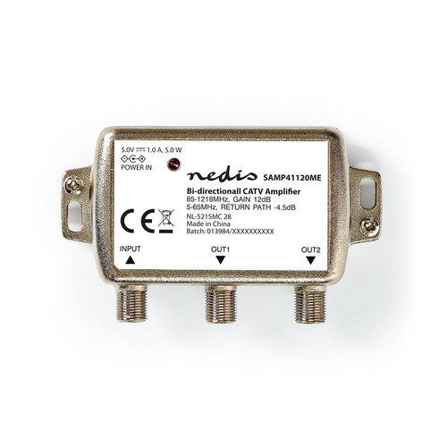 nedis CATV Versterker Max. 9 dB Versterking | 85 - 1218 MHz | 2 Uitgangen | Retourkanaal -4,5 dB | 5 - 65 MHz | F