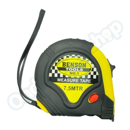 Benson rolbandmaat rubber  7,5 m x 25mm/3 standen