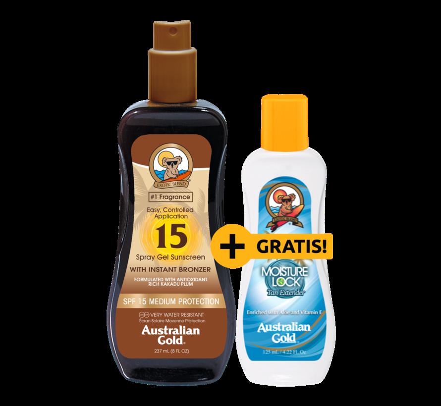 SPF 15 Spray Gel Bronzer + GRATIS! Moisture Lock Aftersun 125ml t.w.v. € 8,95