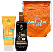 Australian Gold Grand Prix Set – SPF 50 lotion zonder bronzers + SPF 30 spray gel met bronzers 100ml