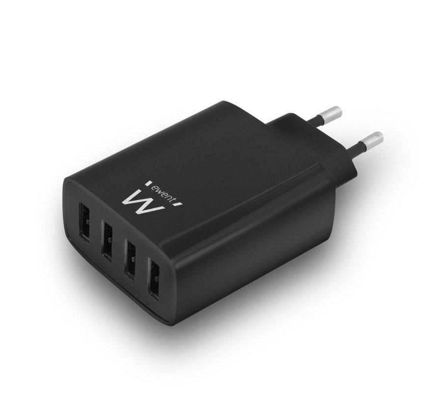 USB Charger 110-240V 4 port smart charging 5.4A black