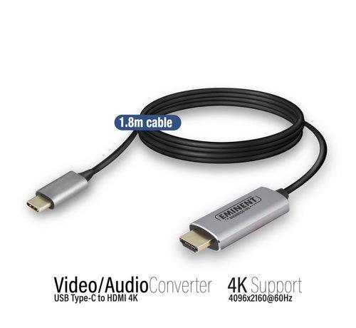 Eminent Converter Type-C -HDMI male 1.8 M, 4k @60Hz, metal housing