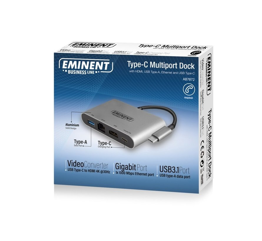 Docking Type-C - HDMI/ Ethernet/USB-A / Type-C 0.15m