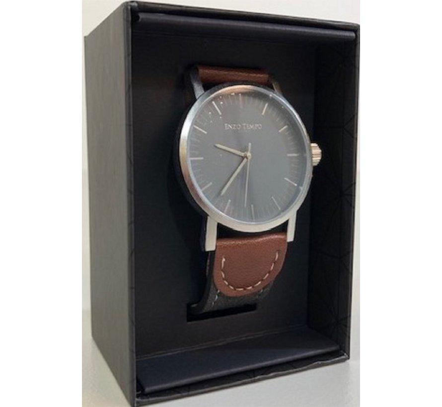 Enzo Tempo Milano heren horloge grijs/bruin