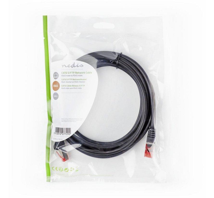 CAT6 S/FTP-netwerkkabel/RJ45 3m Zwart