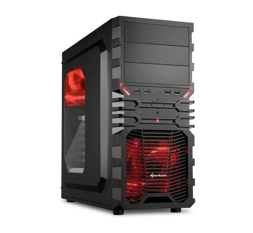 Sharkoon Case  VG4-W Midi Tower Zwart, Rood