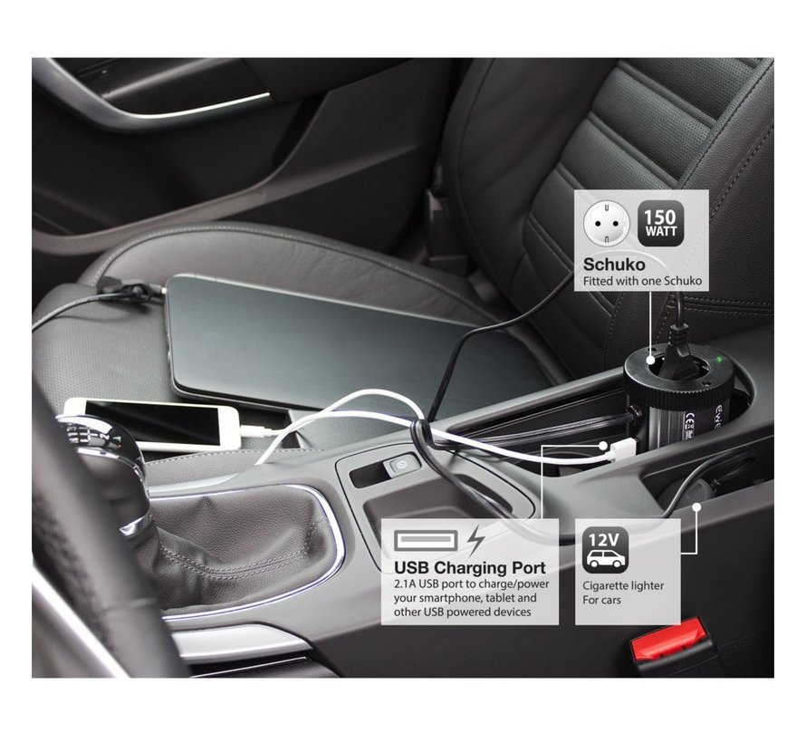 Power Inverter 12V to 230V (150Watt)2.1A USB charger