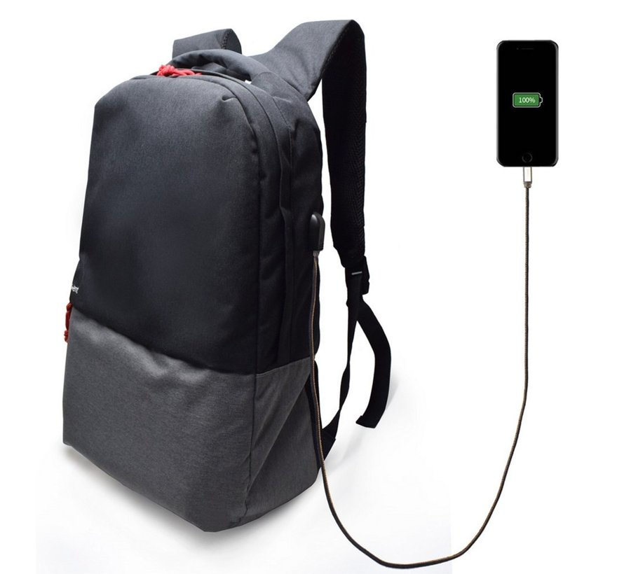 Urban Notebook Backpack 17.3, BLACK/GREY with USB conn