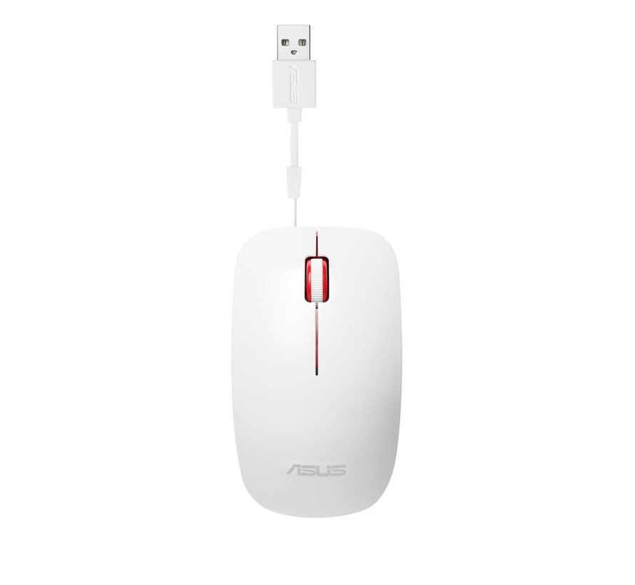 ASUS UT300 muis USB Type-A Optisch 1000 DPI White / Red