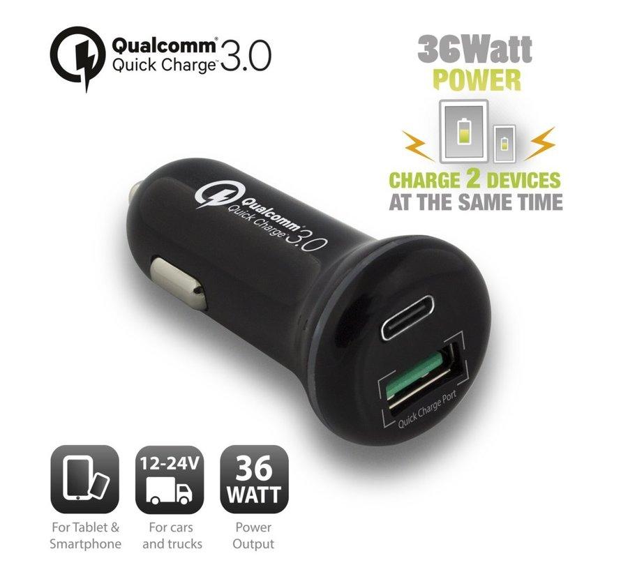 USB-C Car Charger 18W + USB-A Qualcomm QC3.0 18W black