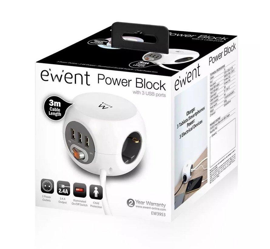 Power block 3 USB charging ports