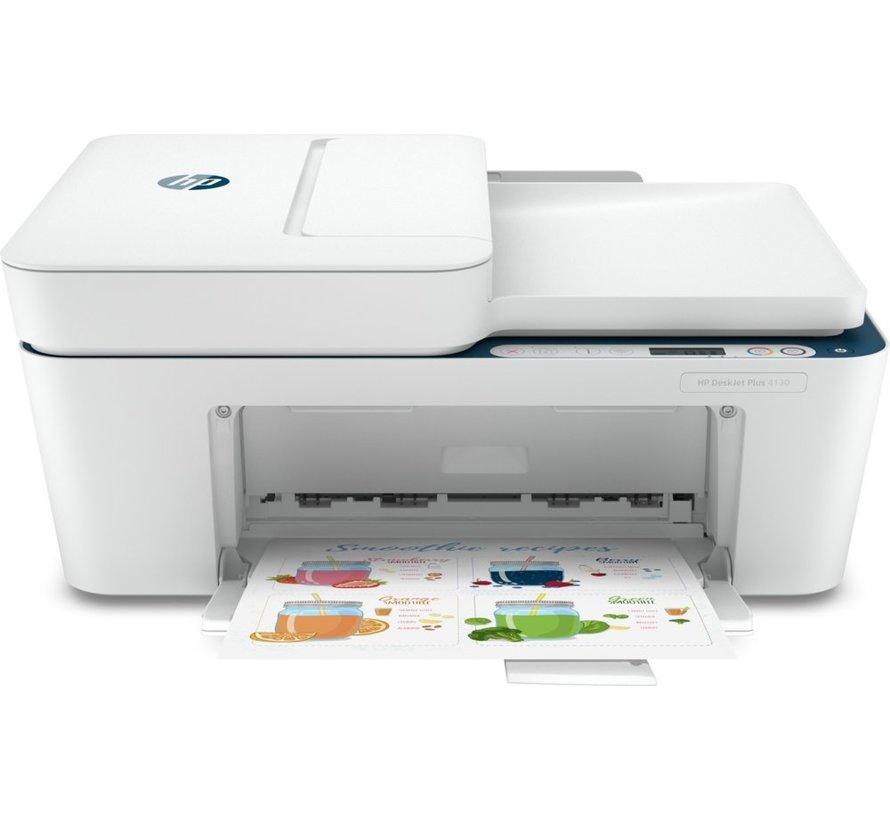 HP DeskJet Plus 4130 AIO / WiFi / Auto Doc Invoer / Wit