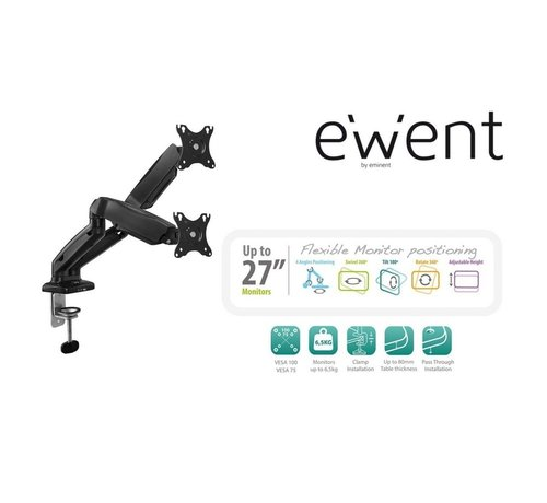 Ewent Monitor desk mount stand gas spring 2 LCD