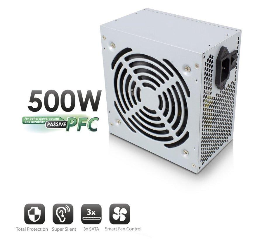 PSU ATX 500W, PPFC, V3.1, 3xSata (refurbished)