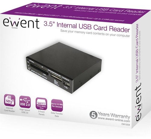 Ewent USB 2.0Card Reader All in1 internal black extra 2color front