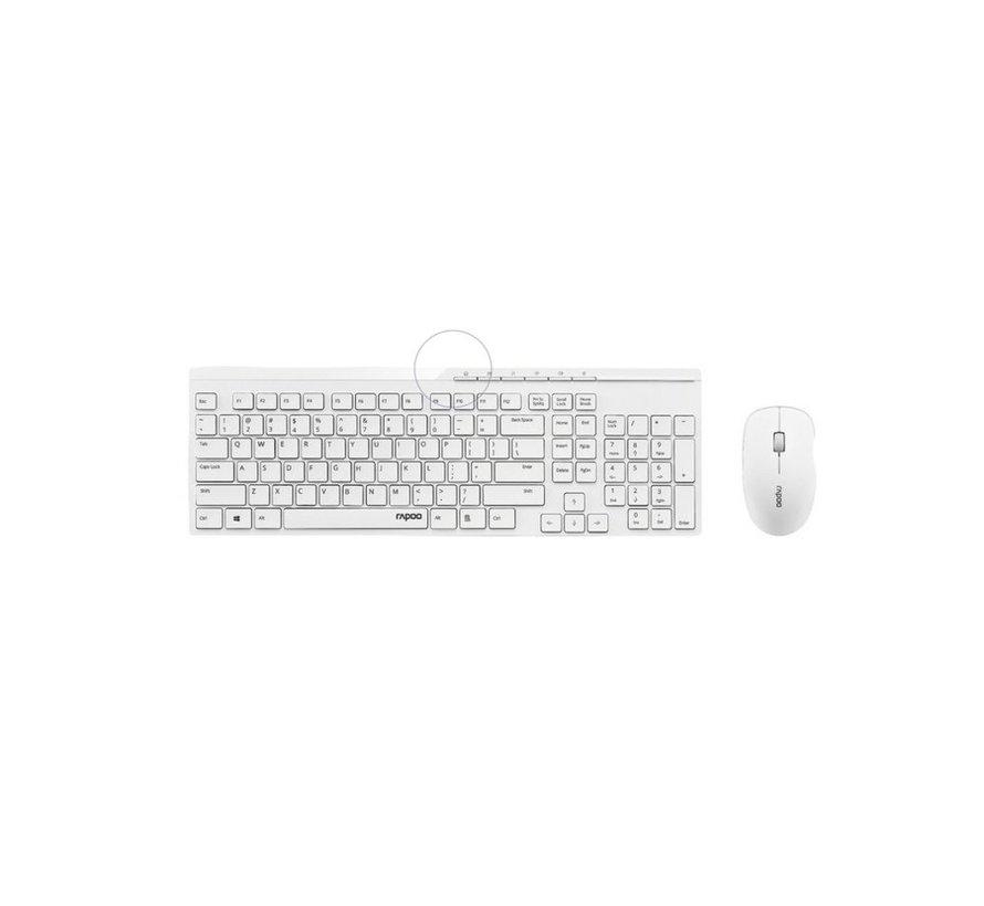 8100 Wireless Keyboard + Mouse Desktopset - White