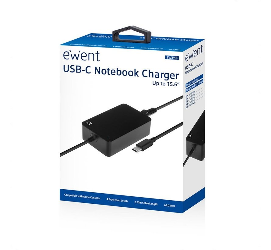 "Type-C notebook charger notebooks up to 15,6"", Slim"