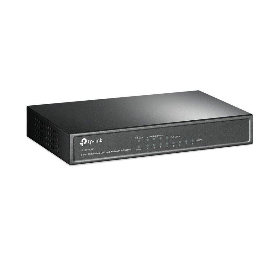 Switch 8-Poorts 10/100Mbit PoE Unmanaged