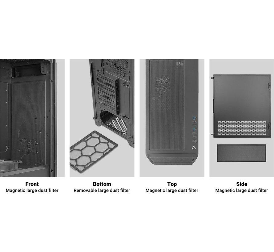 Case  DP502 Flux Midi Tower Glass Steel Grey