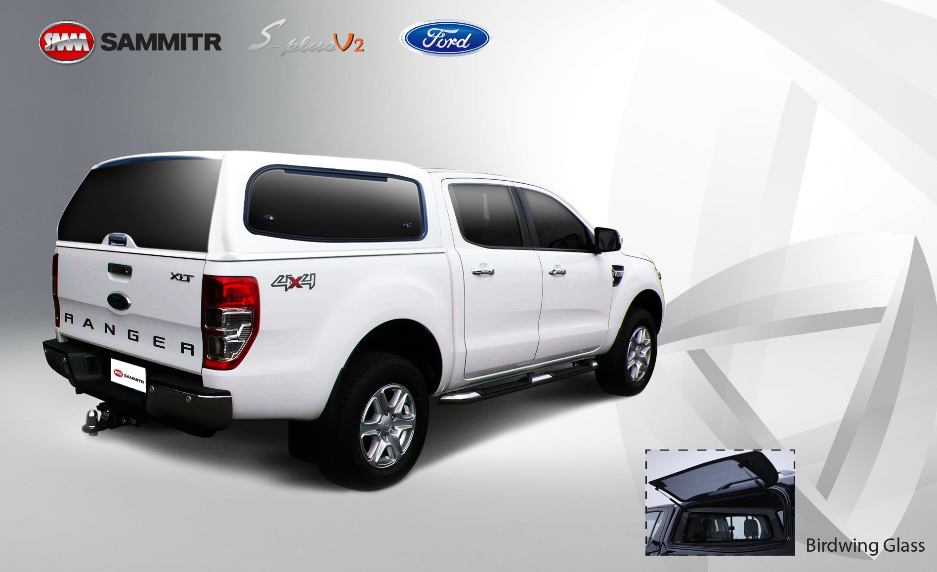 Ford Ford Ranger 2012-2016 V2 Doublecab Glass Bird Wing Window