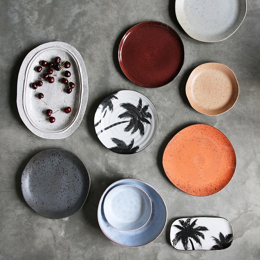 Bord ceramics porcelain palms Ø26cm White-2