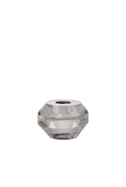 Kaarsenhouder crystal glass candle holder grey round
