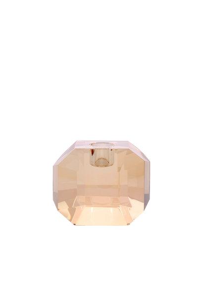 Kaarsenhouder crystal glass candle holder amber diamond