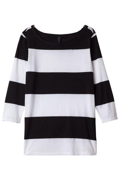 T-shirt, 3/4 sleeve tee big stripe white