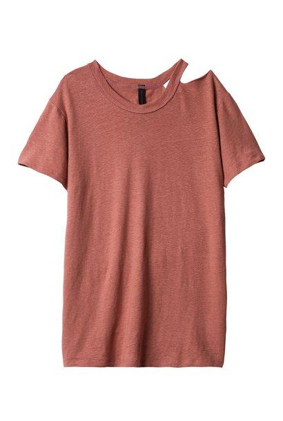 T-shirt, destroyed neck tee rose