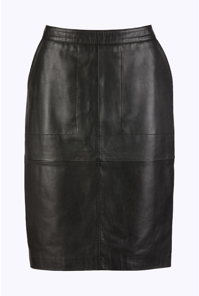 Rok basic leather skirt 860 black
