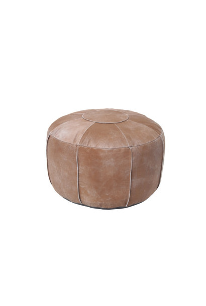 Poef pouf rustic leather tan