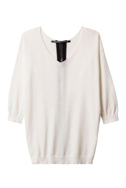 Top, V neck sweater 1002 Ecru