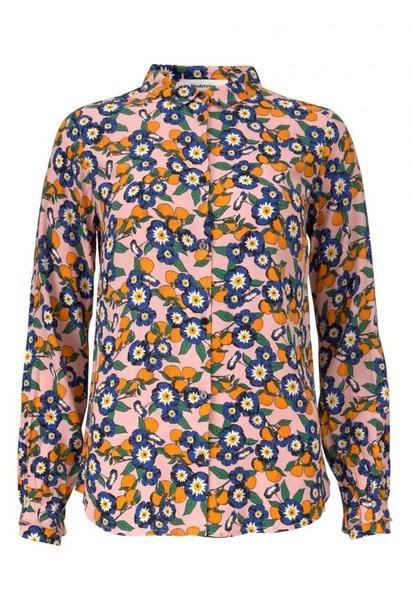 Blouse Omara print shirt 11296 Tangerine flower