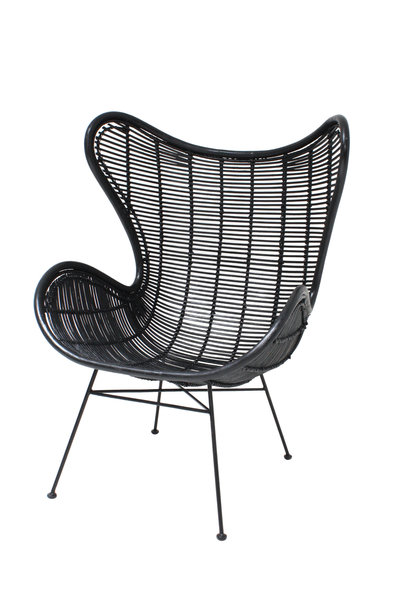 Stoel rattan egg chair black showroom