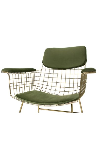 Kussens wire chair with arms comfort kit velvet green