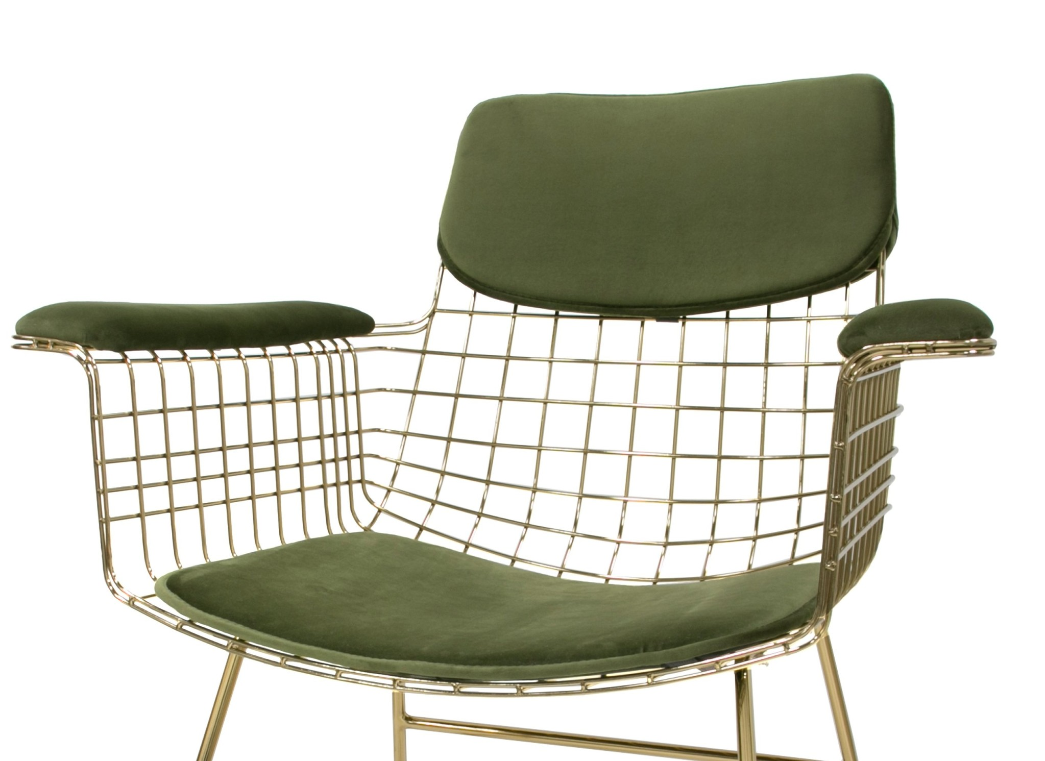 Kussens wire chair with arms comfort kit velvet green-1