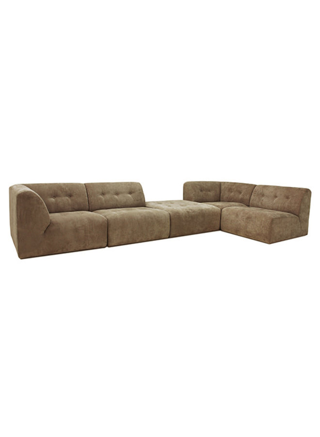Bank vint couch: element right, corduroy rib, brown