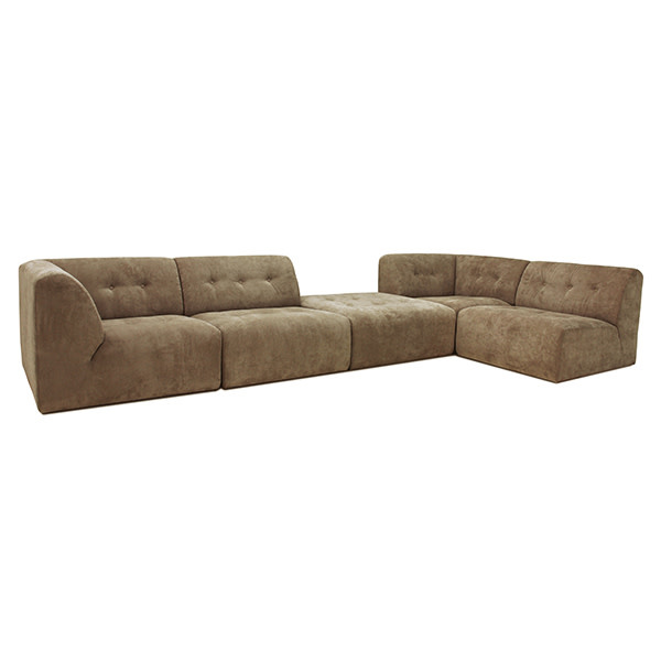 Bank vint couch: element right, corduroy rib, brown-3