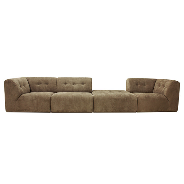 Bank vint couch: element right, corduroy rib, brown-4