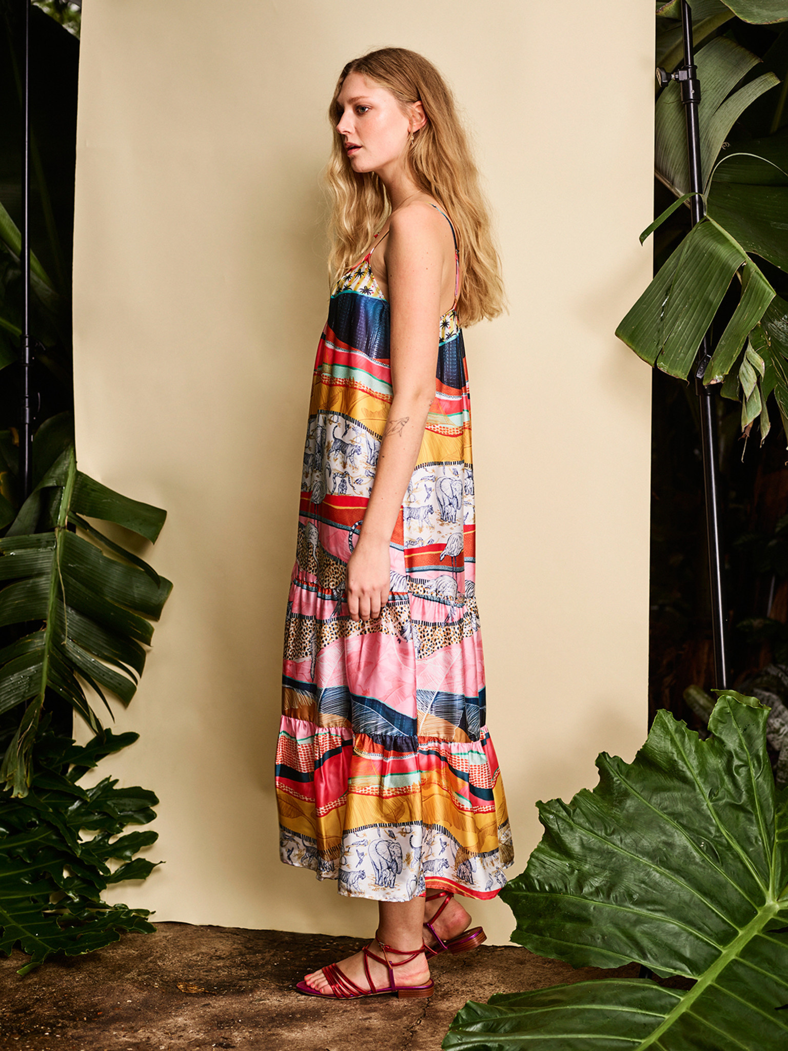 Jurk Strappy summer with all over print 1200 multicolour-5