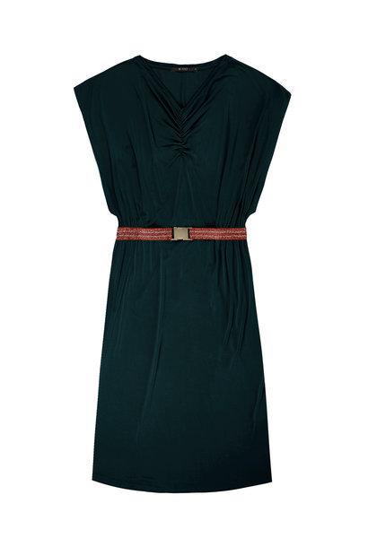 Jurk Elegant jersey dress with lurex elastic belt detai 2212 Petrol