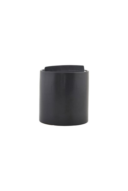 Pot Jar w.lid matte black 12,5x13,5cm