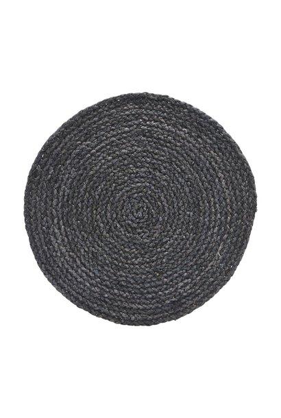 Placemat circle leaves black 38cm