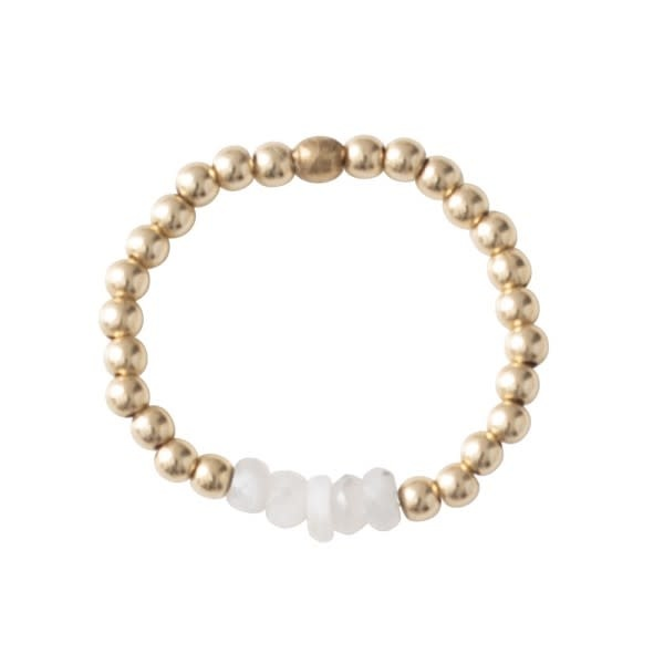 Ring Beauty moonstone Gold White-3