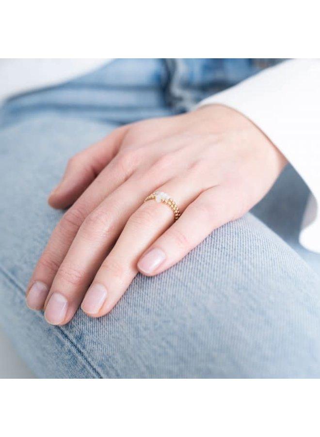 Ring Beauty moonstone Gold White