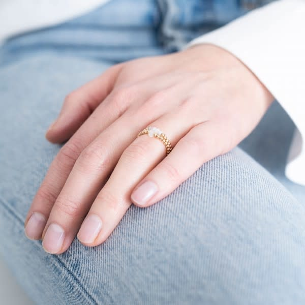 Ring Beauty moonstone Gold White-2