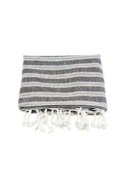 Handdoek hammam towel black w white stripes 180x100cm