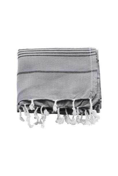 Handdoek hammam towel grey w black stripes 180x100cm