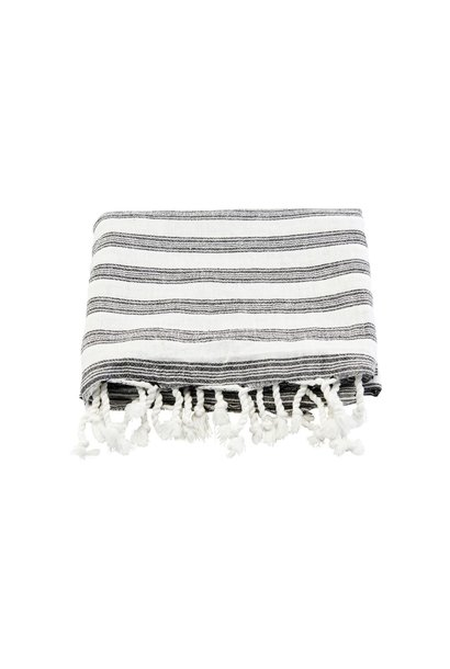 Handdoek hammam towel white w black stripes 180x100cm
