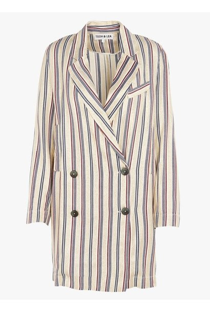 Blazer Striped coat ecru blue red